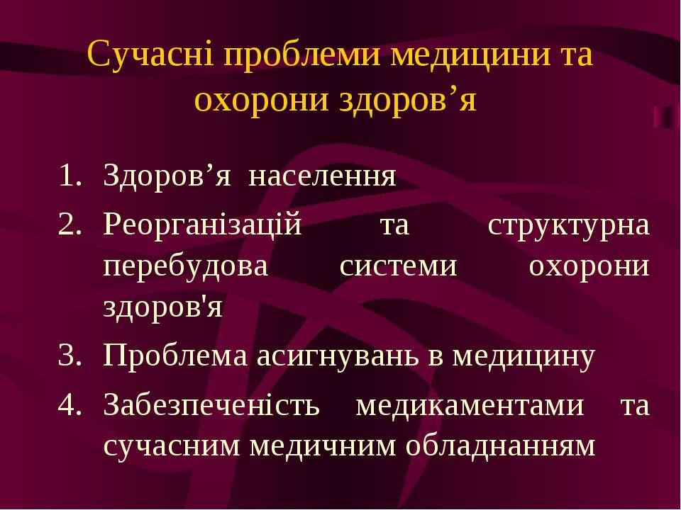 Сучасні проблеми медицини та охорони здоров'я Здоров'я населення Реорганізаці...