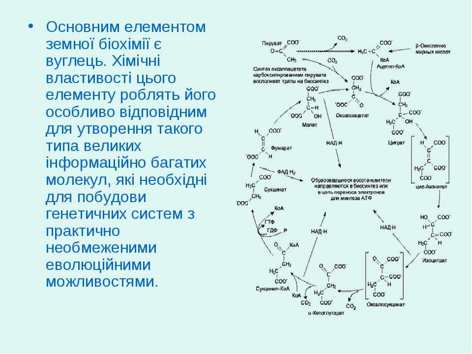 Основним елементом земної біохімії є вуглець. Хімічні властивості цього елеме...