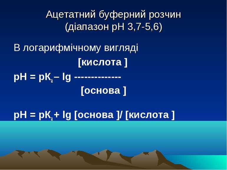 Ацетатний буферний розчин (діапазон рН 3,7-5,6) В логарифмічному вигляді [кис...