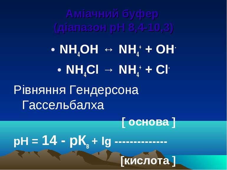 Аміачний буфер (діапазон рН 8,4-10,3) NH4OH ↔ NH4+ + OH- NH4Cl → NH4+ + Cl- Р...