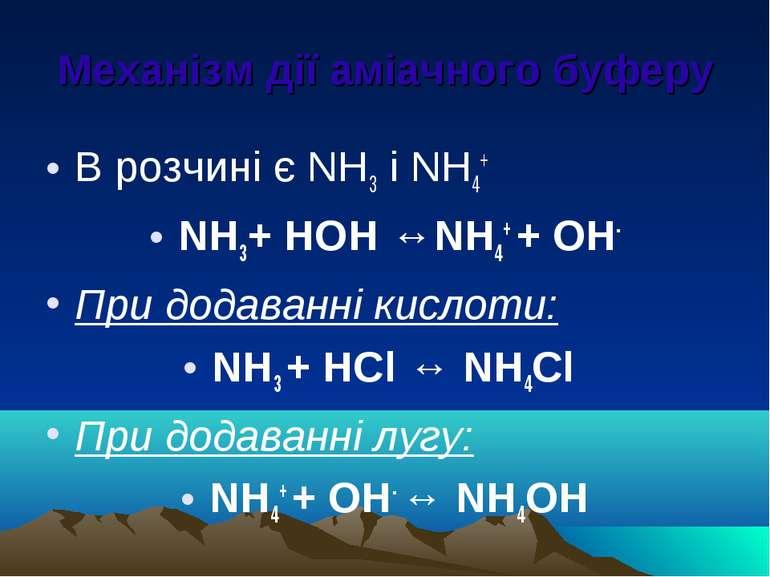 Механізм дії аміачного буферу В розчині є NH3 і NH4+ NH3+ НОН ↔NH4+ + ОН- При...