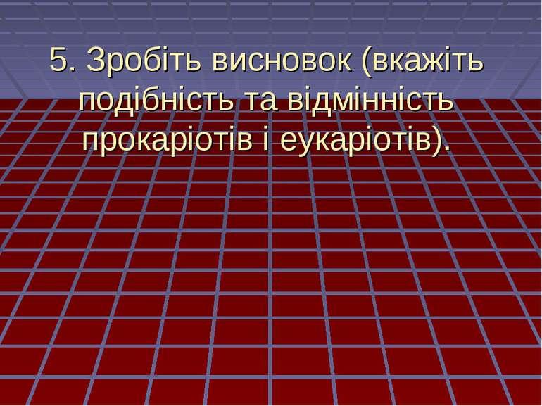 5. Зробіть висновок (вкажіть подібність та відмінність прокаріотів і еукаріот...