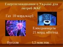 Енергоспоживання в Україні для потреб ЖКГ Газ 10 млрд.м.куб Електроенергія 21...