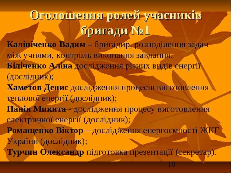 Оголошення ролей учасників бригади №1 Калініченко Вадим – бригадир, розподіле...