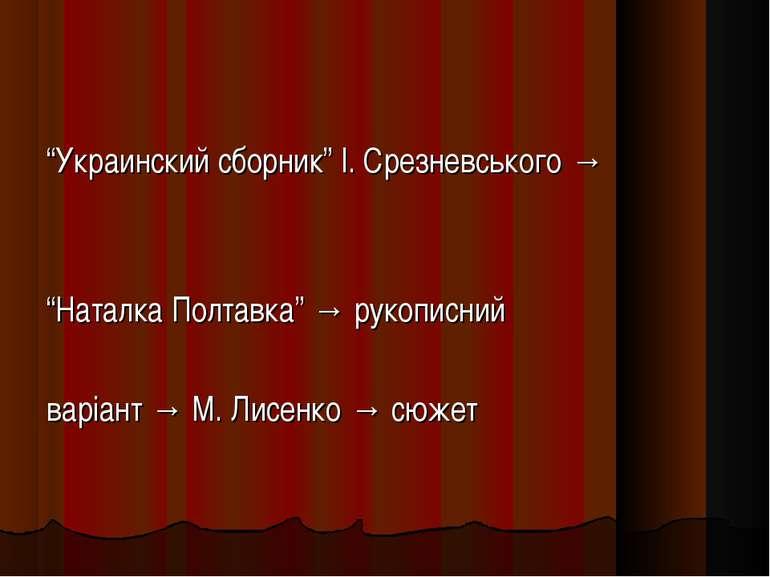 """""""Украинский сборник"""" І. Срезневського → """"Наталка Полтавка"""" → рукописний варіа..."""