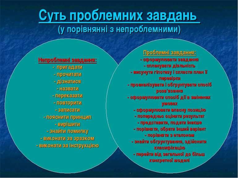 Суть проблемних завдань (у порівнянні з непроблемними) Непроблемні завдання: ...