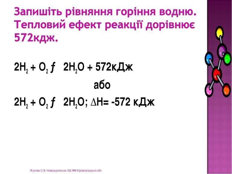 2Н2 + О2 → 2Н2О + 572кДж або 2Н2 + О2 → 2Н2О; ∆Н= -572 кДж Жукова О.В. Новоук...