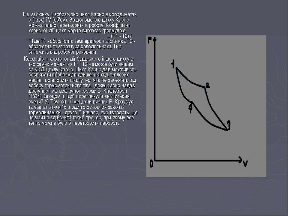 На малюнку 1 зображено цикл Карно в координатах р (тиск) і V (об'єм). За допо...
