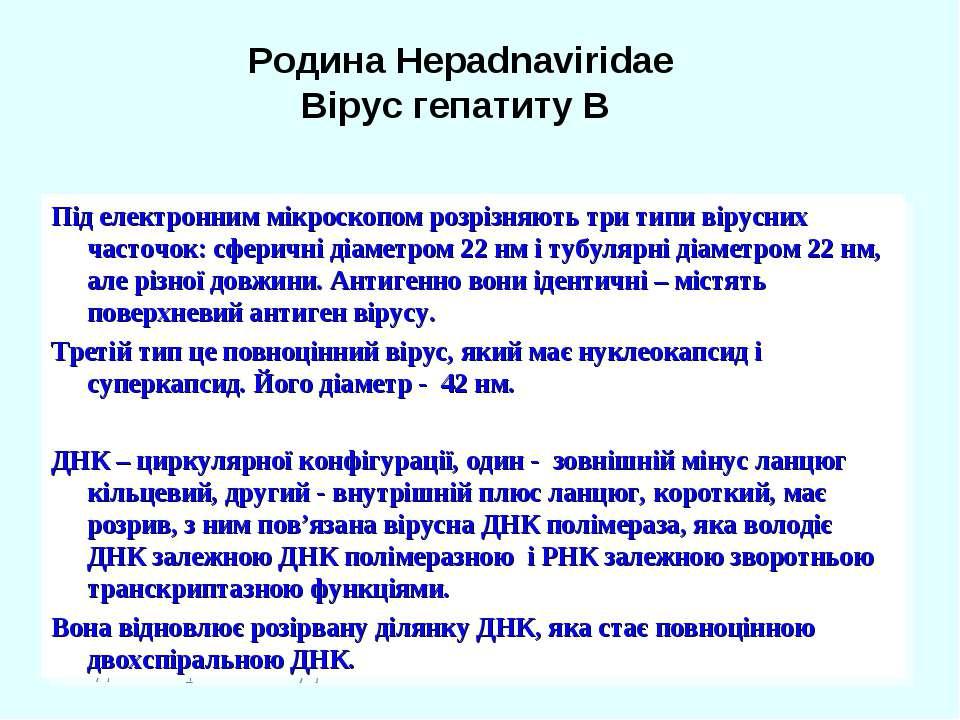 Родина Hepadnaviridae Вірус гепатиту В Під електронним мікроскопом розрізняют...