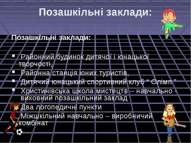 Позашкільні заклади: Позашкільні заклади: Районний будинок дитячої і юнацької...