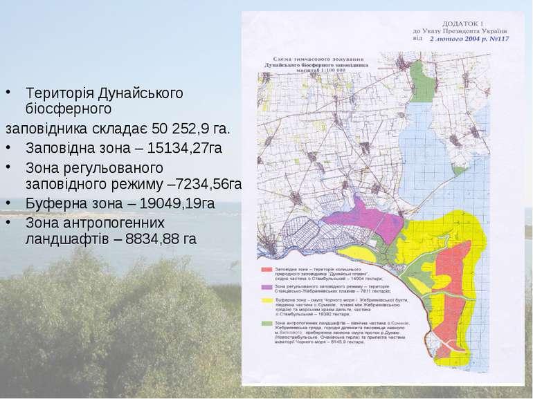 Територія Дунайського біосферного заповідника складає 50 252,9 га. Заповідна ...