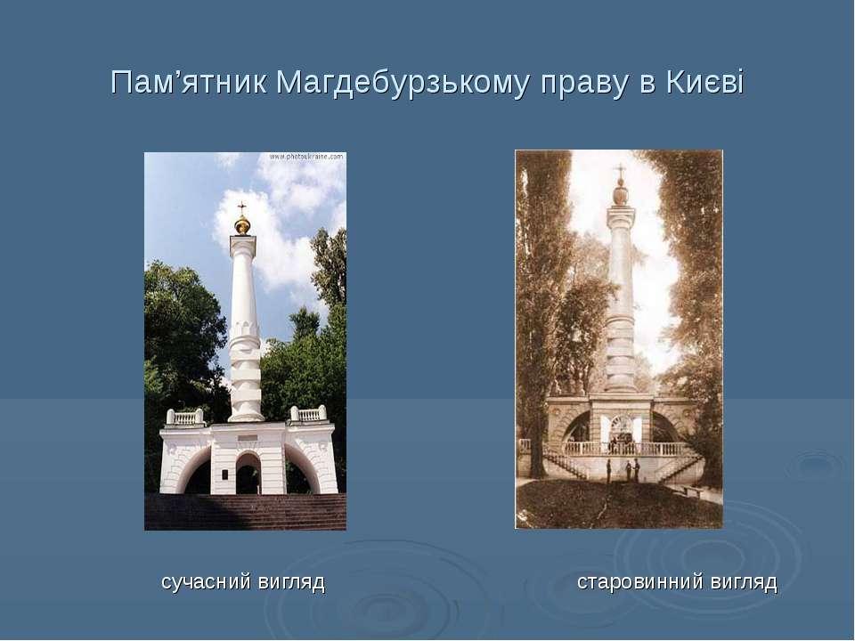 Пам'ятник Магдебурзькому праву в Києві сучасний вигляд старовинний вигляд