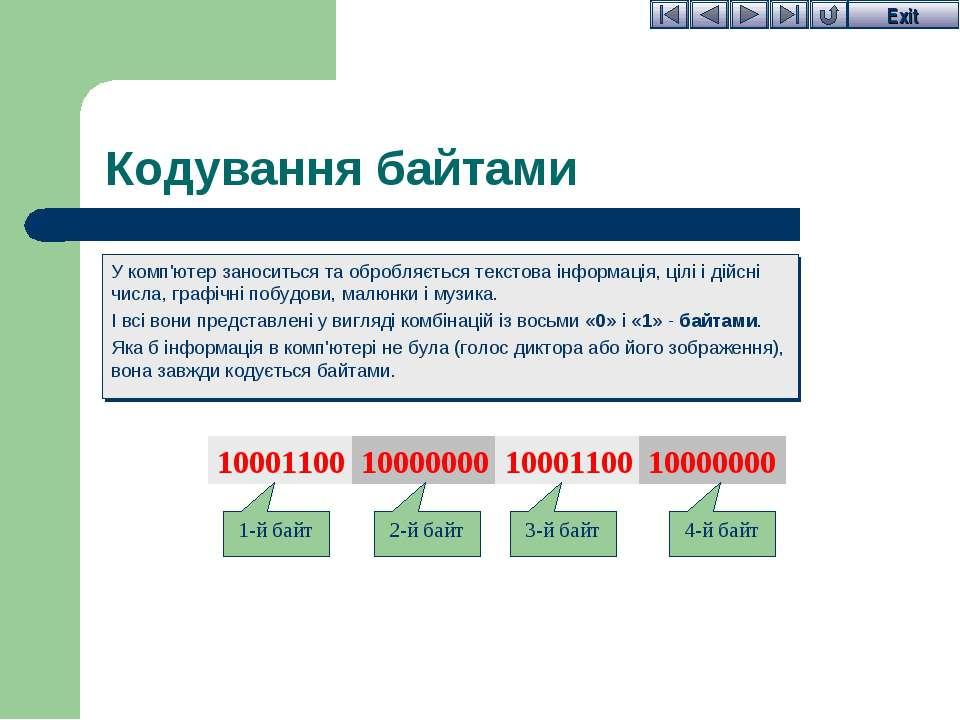 Кодування байтами У комп'ютер заноситься та обробляється текстова інформація,...