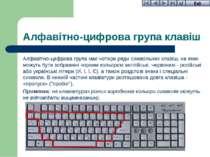 Алфавітно-цифрова група клавіш Алфавітно-цифрова група має чотири ряди символ...
