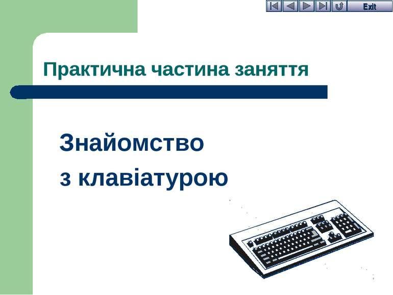 Практична частина заняття Знайомство з клавіатурою Exit