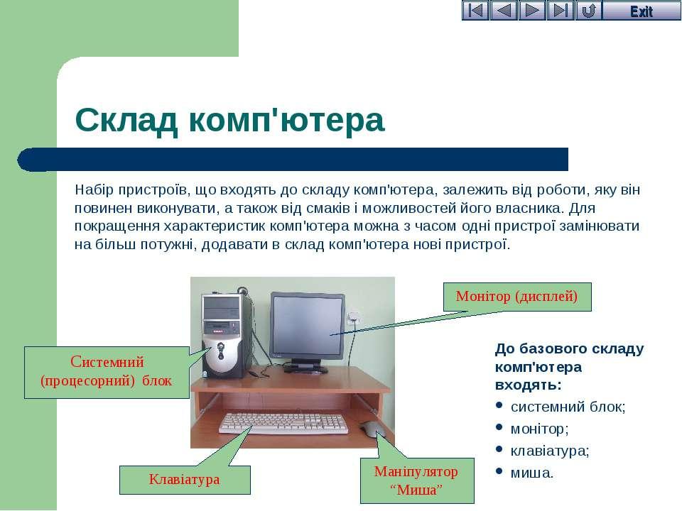 Склад комп'ютера Набір пристроїв, що входять до складу комп'ютера, залежить в...
