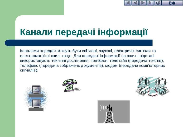 Канали передачі інформації Каналами передачі можуть бути світлові, звукові, е...