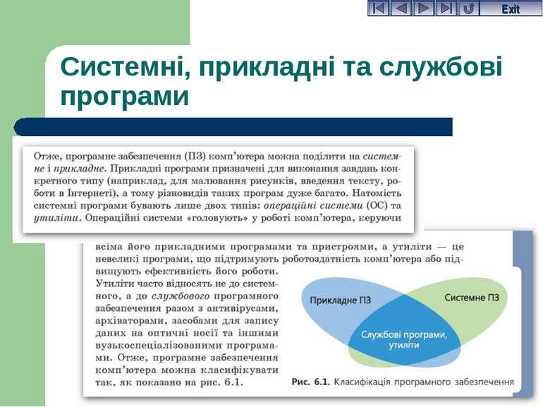 Системні, прикладні та службові програми Exit