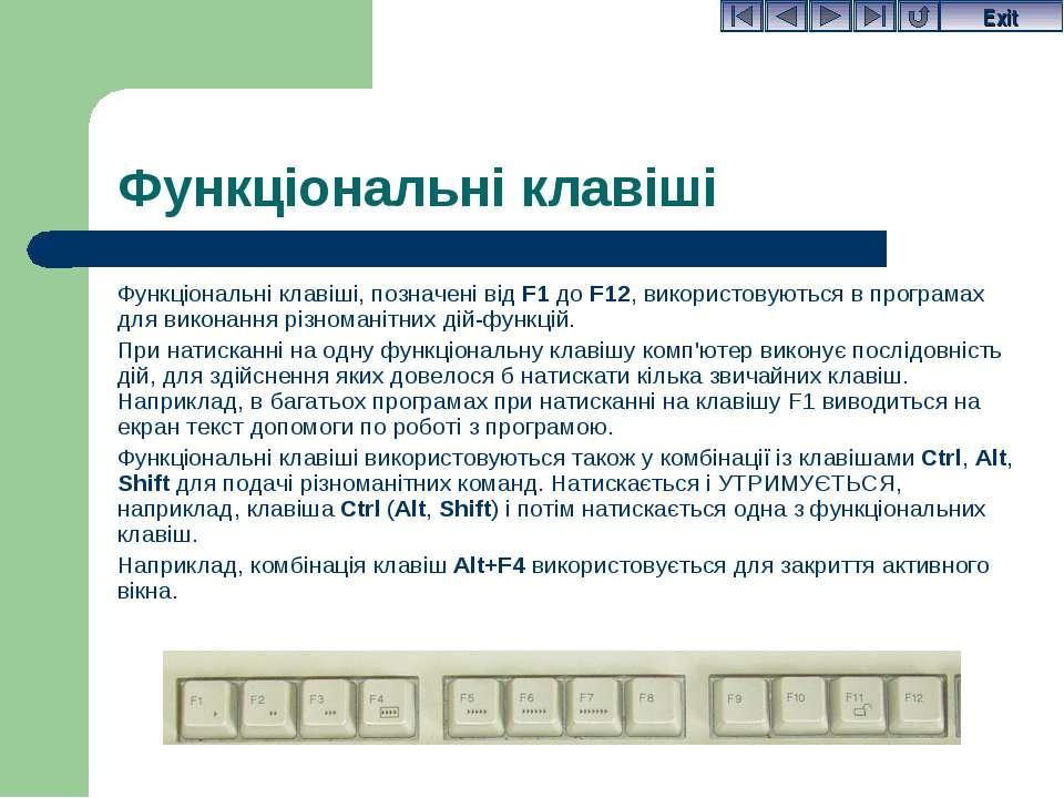 Функціональні клавіші, позначені від F1 до F12, використовуються в програмах ...