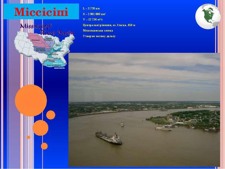 Міссісіпі L – 3 770 км S – 2 981 000 км² V – 12 734 м³/с Центральні рівнини, ...