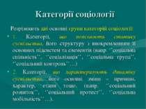 Категорії соціології Розрізняють дві основні групи категорій соціології: 1. К...