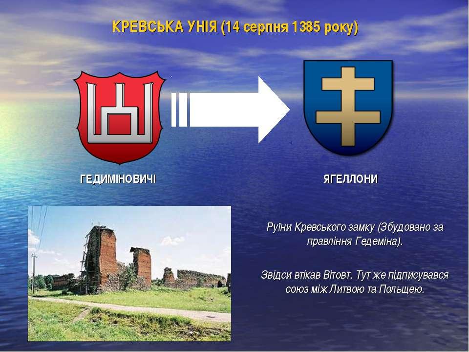 КРЕВСЬКА УНІЯ (14 серпня 1385 року) ГЕДИМІНОВИЧІ ЯГЕЛЛОНИ Руїни Кревського за...