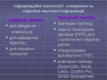 Інформаційні технології створення та обробки числової інформації Апаратні зас...