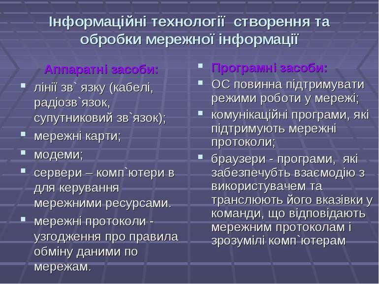 Інформаційні технології створення та обробки мережної інформації Аппаратні за...