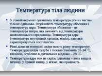 Температура тіла людини У гомойотермних організмів температура різних частин ...