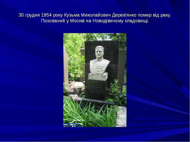 30 грудня 1954 року Кузьма Миколайович Дерев'янко помер від раку. Похований у...