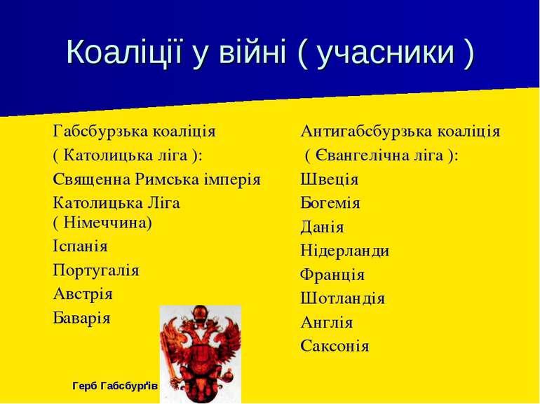 Коаліції у війні ( учасники ) Габсбурзька коаліція ( Католицька ліга ): Свяще...