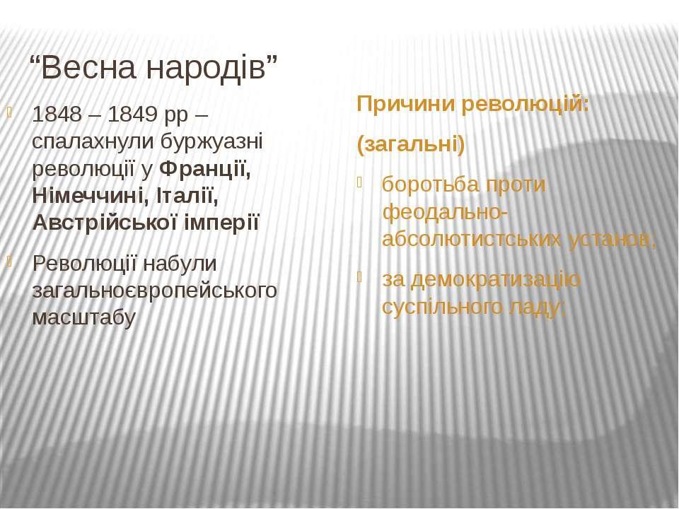 """""""Весна народів"""" Причини революцій: (загальні) боротьба проти феодально- абсол..."""
