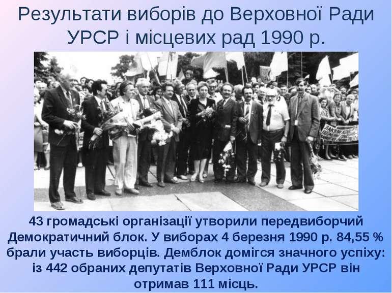 Результати виборів до Верховної Ради УРСР і місцевих рад 1990 р. 43 громадськ...