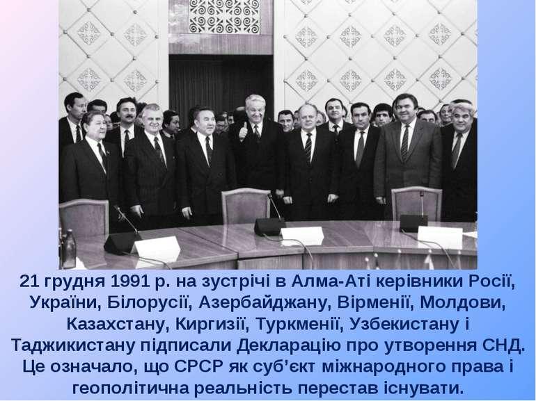 21 грудня 1991 р. на зустрічі в Алма-Аті керівники Росії, України, Білорусії,...