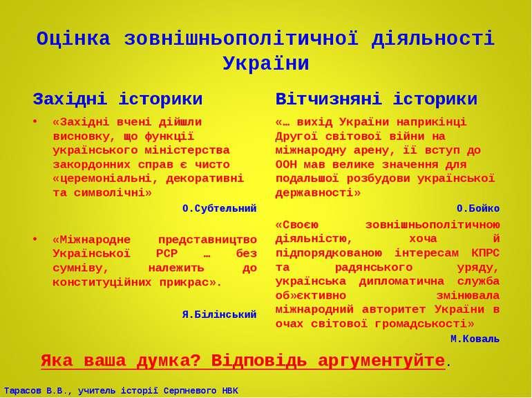 Оцінка зовнішньополітичної діяльності України Західні історики «Західні вчені...