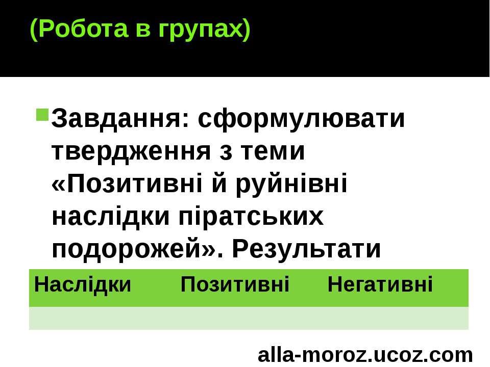 (Робота в групах) Завдання: сформулювати твердження з теми «Позитивні й руйні...