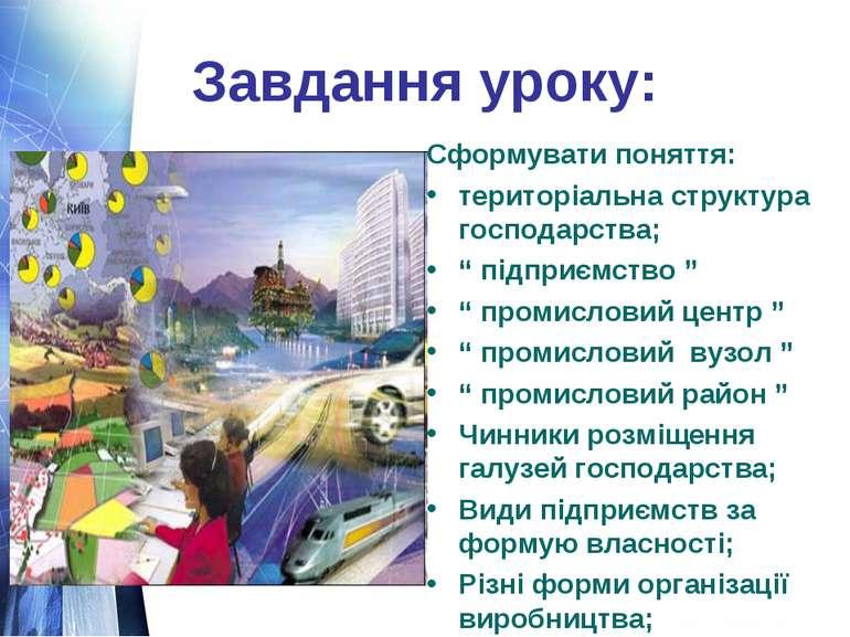 """Завдання уроку: Сформувати поняття: територіальна структура господарства; """" п..."""