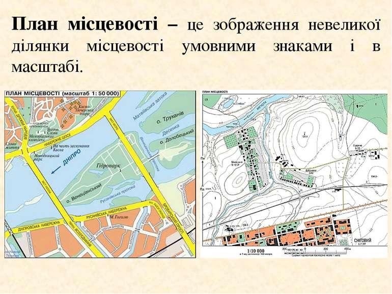 План місцевості – це зображення невеликої ділянки місцевості умовними знаками...