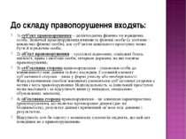 До складу правопорушення входять: 1) суб'єкт правопорушення – деліктоздатна ф...