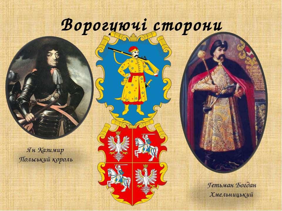 Ворогуючі сторони Ян Казимир Польський король Гетьман Богдан Хмельницький