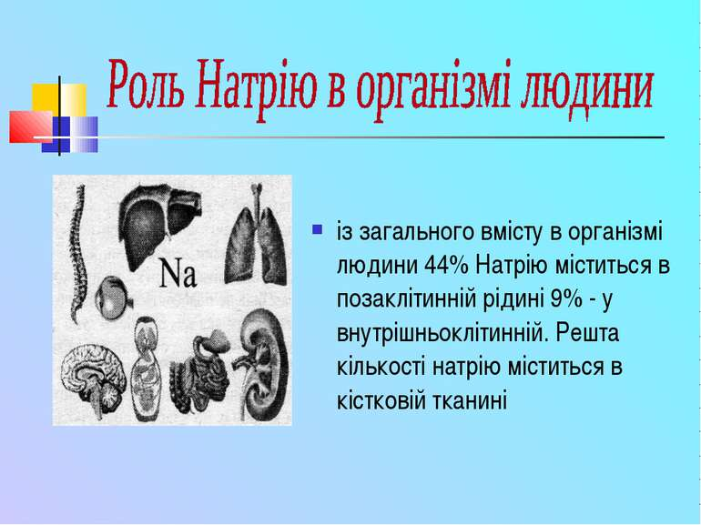 із загального вмісту в організмі людини 44% Натрію міститься в позаклітинній ...