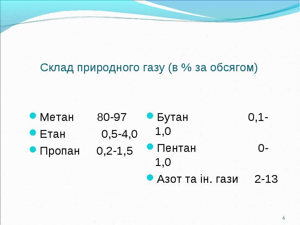 Склад природного газу (в % за обсягом) Метан 80-97 Етан 0,5-4,0 Пропан 0,2-1,...