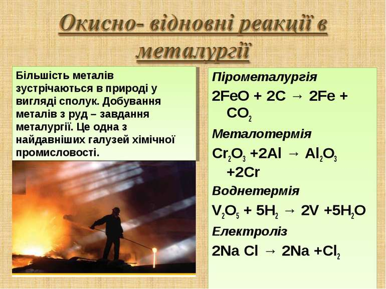 Пірометалургія 2FeO + 2C → 2Fe + CO2 Металотермія Cr2O3 +2Al → Al2O3 +2Cr Вод...