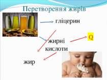 Перетворення жирів гліцерин жирні кислоти жир Q