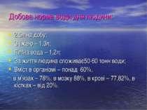 Добова норма води для людини: 2,5л на добу; З їжею – 1,3л; Питна вода – 1,2л;...