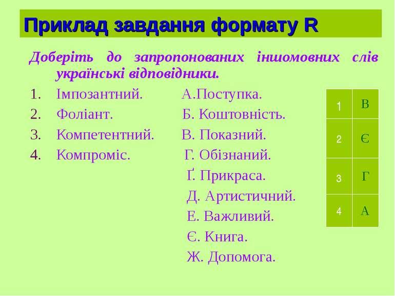 Приклад завдання формату R Доберіть до запропонованих іншомовних слів українс...