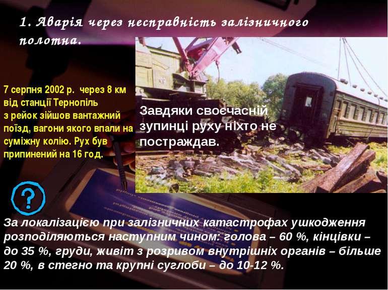 7 серпня 2002 р. через 8 км від станції Тернопіль з рейок зійшов вантажний по...
