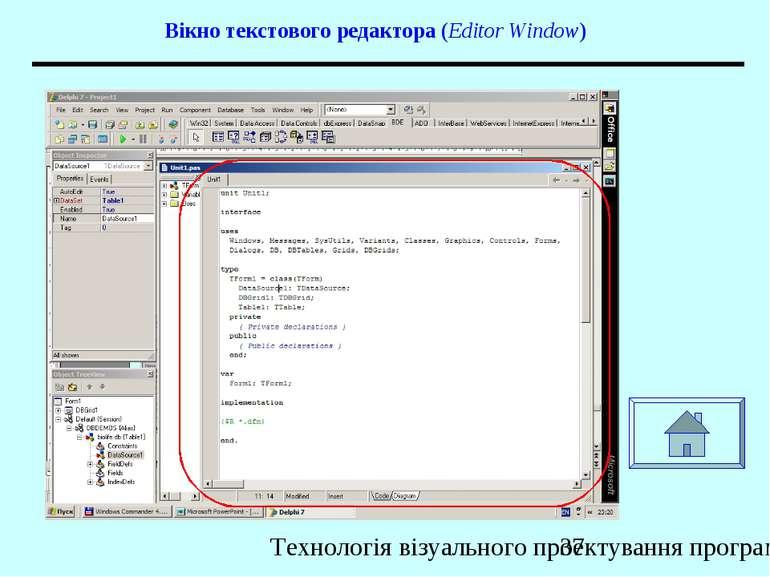 Вікно текстового редактора (Editor Window) Технологія візуального проектуванн...
