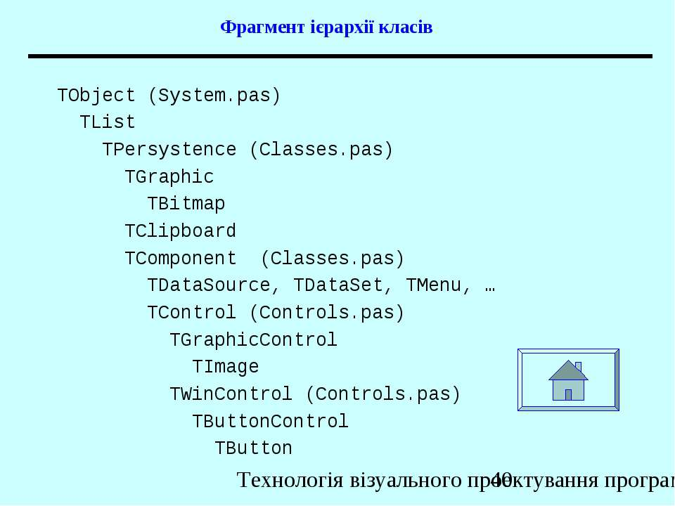 Фрагмент ієрархії класів TObject (System.pas) TList TPersystence (Classes.pas...