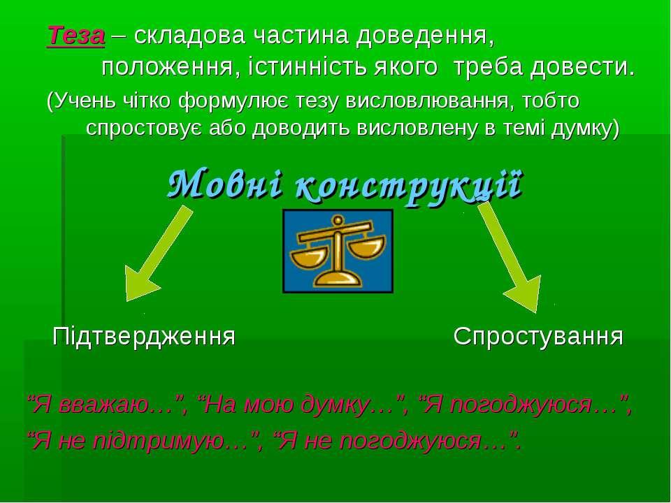 Мовні конструкції Теза – складова частина доведення, положення, істинність як...